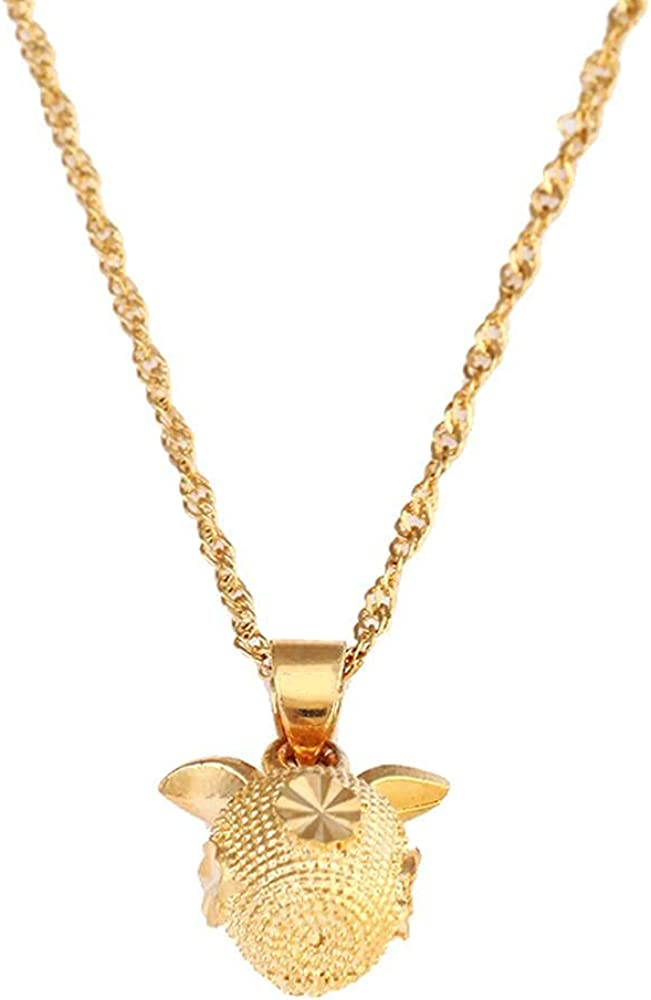 Women's Gold Color Apple Pendant Necklace Fashion Cute Chain Jewelry Gift 50cm