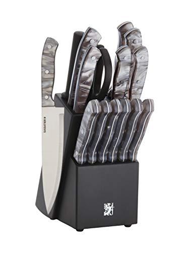 Sabatier Triple Rivet Knife Block Set, 15-Piece, Black