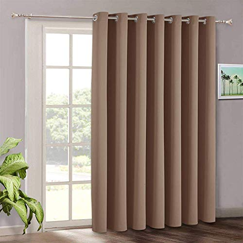 Patio Sliding Door Curtain Panel - Blackout Vertical Blinds Living Room Window Curtains, Light Block Thermal Drape for Dining Farmhouse Cabin Room Divider, Wide 100 x Long 84, Cappuccino