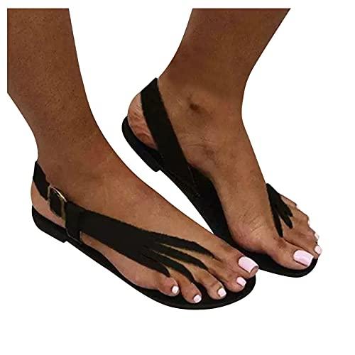 Ghemdilmn Sandalias planas para mujer, informales, transpirables, para exterior, para verano, playa, chanclas de viaje cómodas, para viajes, color Negro, talla 39 EU