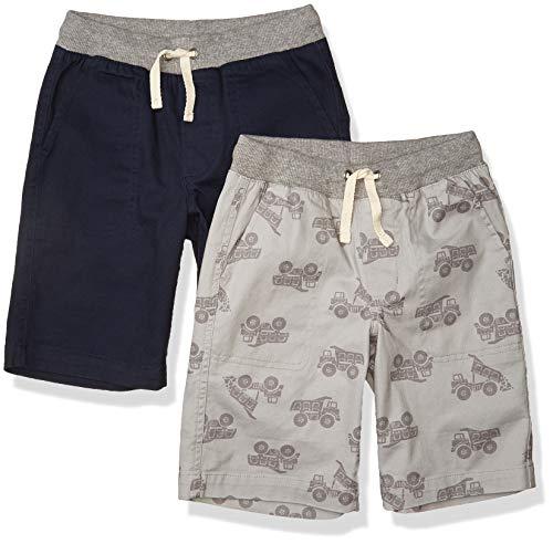 Amazon Essentials Kids Boys Pull-On Woven Shorts, 2-Pack Grey Truck/Navy, Medium