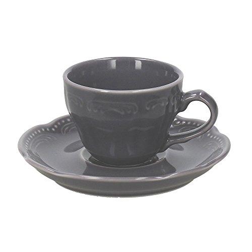 Tognana Charme Lot de 6 Tasses à Café avec soucoupes, Porcelaine, Gris Londres