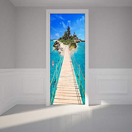 3D Türaufkleber PVC Selbstklebende Wasserdichte Holzbrückeninsel Abnehmbare Art Decals TürPoster für Wandbild Wohnzimmer Schlafzimmer Badezimmer Dekoration 77x200 cm