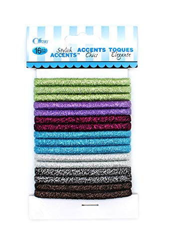 Offray Metallic Elastic Hair Ties/Ponytail Bands - 16 Pieces - Multicolor