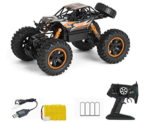 1:10 2.4Ghz Radio Control Remoto Coche RC Off Road Fast Giant Hobby Eléctrico High Speed Racing Rock Crawlers Monster Truck Pies Grandes Aleación 4WD Drifting Climbing Cars Regalo Para Niños Naranja
