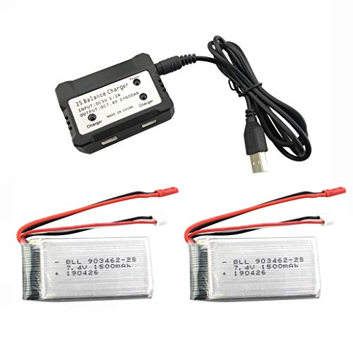 Fytoo 2PCS 7.4V 1500mah Lipo Batería y 2 en 1 Cargador para WLTOYS V913 RC Quadcopter Repuestos L959 RC Coche Repuestos de Alta Velocidad WL912 RC Barco Repuestos