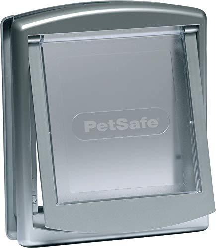 PetSafe – Chatière pour chien et chat Originale Staywell, 2 voies d'accès – entrée et sortie - Porte pour animaux. Résistante, Rigide, Panneau de Fermeture Inclus – Argenté (L)