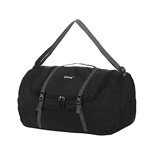 GOX Foldable Travel Duffel Bag Sports Gym Carry On Bag Lightweight Water Resistant Nylon, Luggage Tote Bag For Men & Women 40L(Black)