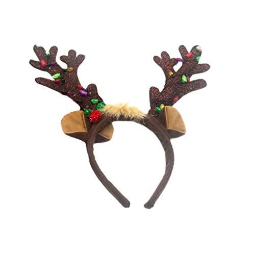 Lurrose Diadema de Navidad luminosa Diadema de Navidad Tocado de Cuerno de Navidad con luz LED Accesorios para el pelo para fiesta de disfraces de Navidad