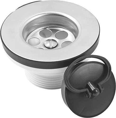 Cornat Ablaufventil für Feuerton-Spültische - 1 1/2 Zoll AG - Mit passendem Ventilstopfen Ø 50,5 mm - Made in Germany Qualität / Ablaufstopfen / Spülbecken-Stöpsel / T352504