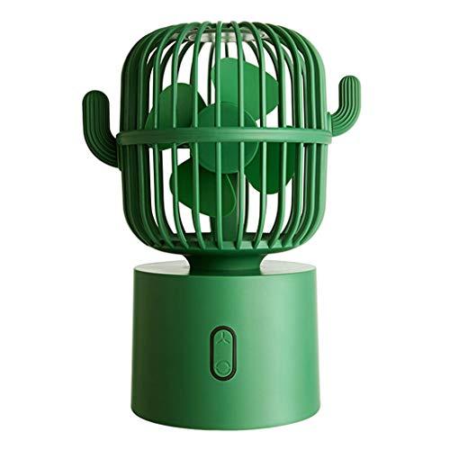 AAADRESSES Mini Ventilador Cute Cactus USB Recargable Ventilador Oscilante, Ventilador Refrigeración Portátil, Enfriador Aire Escritorio el Hogar, para Oficina o Viajes,Verde