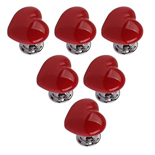 6pcs Maniglia A Forma Di Cuore Ceramica Pomelli Mobili Cassetto Porta Manopola Da Creatwls - Rosso