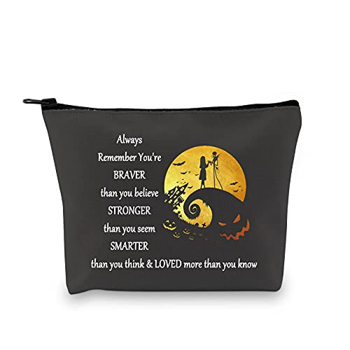 LEVLO Jack and Sally Cosmetic Bag Nightmare Before Christmas Movie Fan Gifts You Are Braver Stronger Smarter Than You Think Makeup Bag For Women Girls(Jack and Sally Bag)