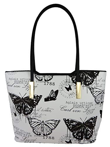 kennydoo Große Damen-Handtasche im Vintage Shopper-stil I Schmetterling I Damen-Rucksack geräumig Leder Imitat I Schultertasche modern Tote-bag I Umhänge-tasche (schwarz weiß 1803)