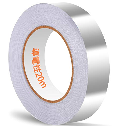 Akuoly Aluminiumband mit leitfähigem Kleber 20m x 25mm, Leitfähige Aluminiumklebebänder selbstklebend, EMI Abschirmband, Elektro Reparatur Band