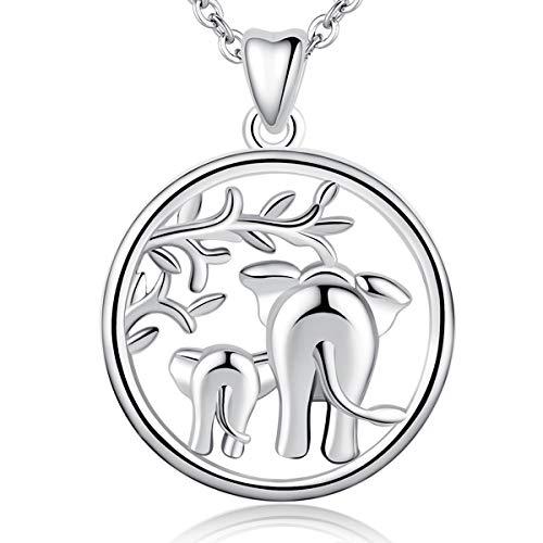 AEONSLOVE Collar de Plata de Ley 925 con Colgante de Elefante de la Suerte Amor Familiar, Collar con Madre y Bebé Elefante, 46 cm, Joyas para Mamá
