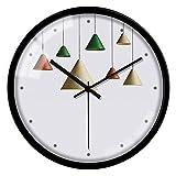 Qaaqiy Windspiel Mode Wanduhr Persönlichkeit Einfache Uhr Kreative Metall Quarzuhr Schlafzimmer Wohnzimmer Stille Wanduhr Dekorative Uhr (Color : Black Frame)