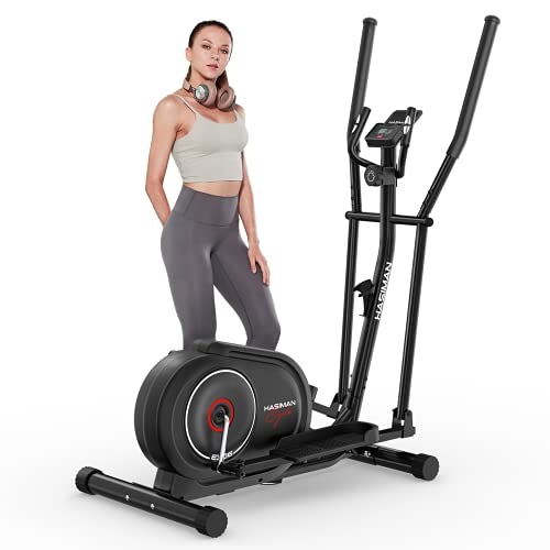 HASIMAN Elliptical Machine for Home Use Elliptical Cross Trainer with Silent Magnetic Elliptical Training Machines with 8 Levels Adjustable Resistance LCD Monitor and Pulse Sensor