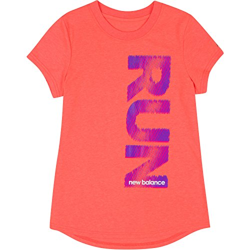 New Balance Big Girls' Short Sleeve Graphic Tees, Sunrise Heather, 14