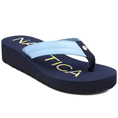 Nautica Women's Tedori Wedge Flip Flop, High Fashion Beach Sandal, Thong Style Slide Peacoat-10