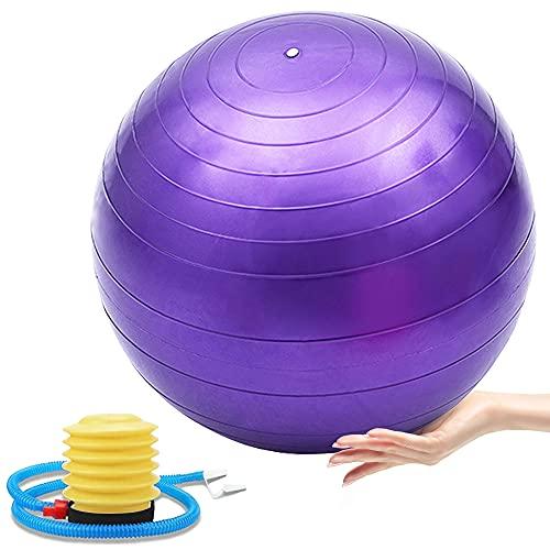 WISETOP - Pelota de Gimnasia para Ejercicios, Ejercicio físico, Yoga, Embarazo, Anti ráfaga para Estabilidad y Yoga, guía de Entrenamiento incluida y Bomba rápida incluida (púrpura)