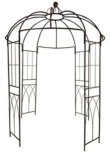 OUTOUR® Pavillon / Rankgerüst, offen, Bogenform, Vogelkäfig-Design, 4-seitig, Metall / Schmiedeeisen, ideal für Kletterwein und Rankengewächse, f&uum