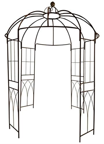 OUTOUR French Style 4-Sided Birdcage Shape Metal Gazebo Pergola Pavilion Arch Arbor Arbour Plants Stand Rack for Outdoor Garden Lawn Backyard Patio, Climbing Vines, Roses, Flowers, Dark Rust