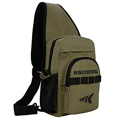 KastKing Sling Fishing Bag, Ultra Light-Weight Fishing Chest Sling Packs, Sling Tool Bag for Hiking Biking Hunting Camping School,Standard(11.5 x 9.25 x 5 Inches)-Earth Brown, Without Trays