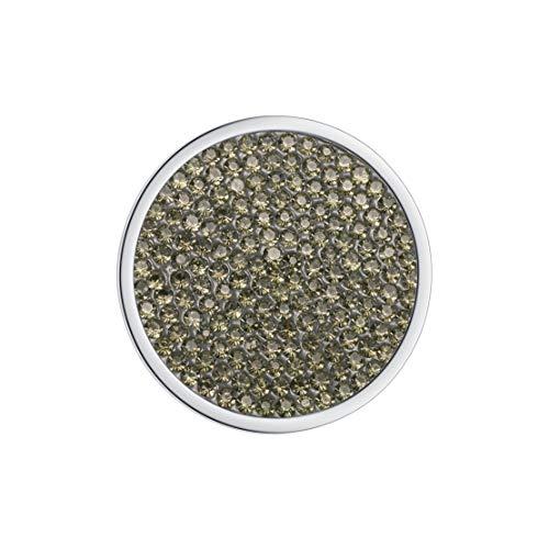 Meilanty Damen Halskette Anhänger Coin 33mm für Münzfassungen Edelstahl Gelbgrün Zirkon GP-20
