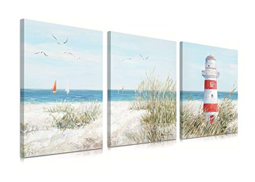 "Coastal Beach Bathroom Lighthouse Decor Seagull Wall Art Ocean Theme Teal Seascape Sailing Boat Sea Bird Nautical Haven Canvas Print Poster Grass Picture for Living Room Decoration 12"" x 16"" x 3Panels"