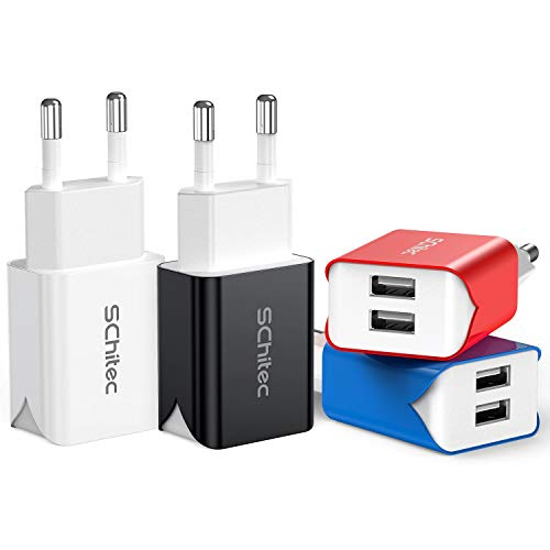 SCHITEC 2 Port USB Ladegerät, 4er-Pack 5V / 2.1A USB Ladeadapter/Netzteil, Bunter tragbarer USB-Portadapter Reise Wall Charger für iPhone X 8,Samsung Galaxy Note 8, S9, S8, iPad,Tablet und mehr