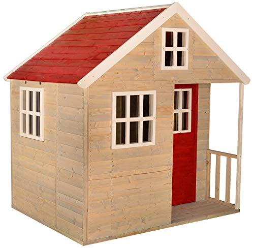 Wendi Toys M13 Nordic Villa | Casetta di Legno per Bambini Rossi per attività all'aperto