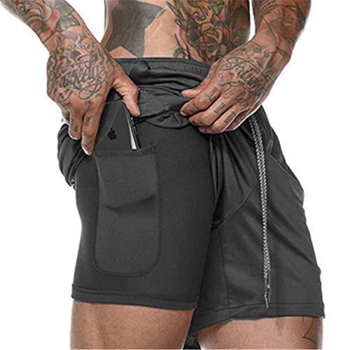 Cabeen 2 en 1 Pantalon Corto de Deporte para Hombre e Fitness Bodybuilding Pantalones de Tenis con Bolsillos