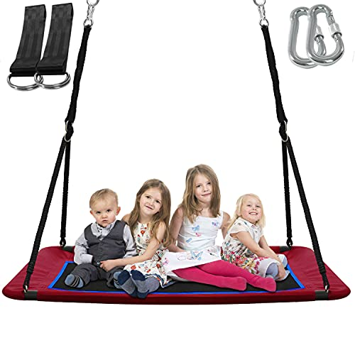 Outdoor Platform Tree Swing for Kids and Adults, 700 lbs Weight Capacity Swing, Sturdy Steel Frame...