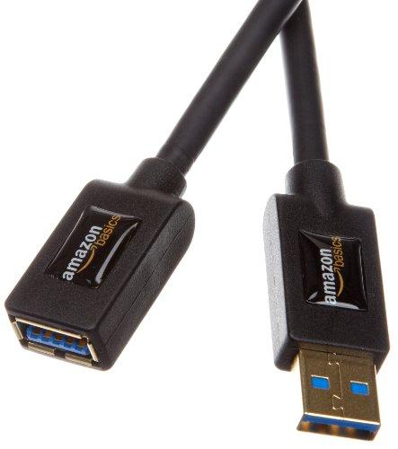 AmazonBasics USB 3.0A-Stecker auf A-Buchse Verlängerungskabel schwarz Schwarz 3.3'