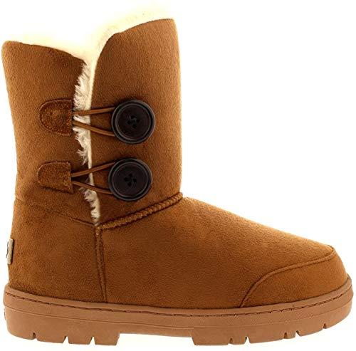 Botas de invierno con doble botón, impermeables, para mujer, color Marrón, talla 35.5