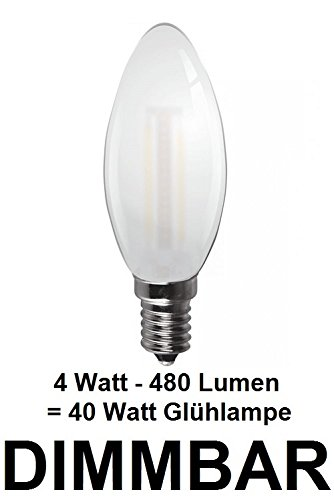 Dimbare 4 watt draad/filament, traditionele kaars in matglas mat, fitting E14, retrofit, warmwit ca. 2700 Kelvin, 480 lumen als een 40 watt gloeilamp, ideaal voor kroonluchters