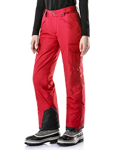 TSLA CLSL Women's Snow Pants Windproof Ski Insulated Water-Repel Rip-Stop Bottoms, Snow Cargo(xkb92) - Red, Medium [Waist 27.5-29.5_Hips 41-43 Inch]