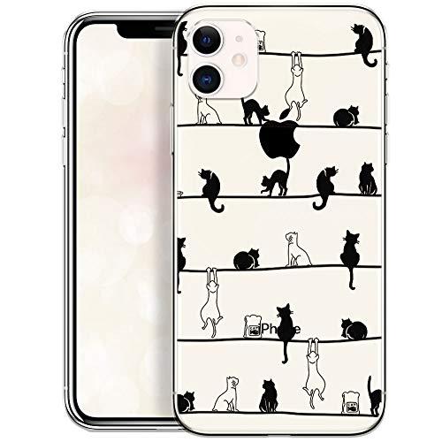 QULT Schutzhülle kompatibel mit iPhone 11 Hülle mit Motiv dünn Handyhülle Silikon Transparent Slim Bumper mit Muster Katzen Frühling