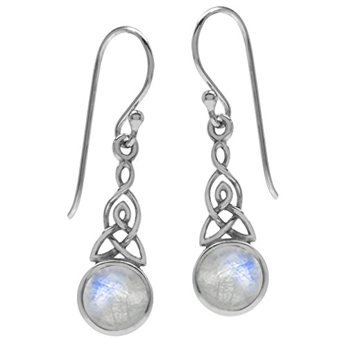 Silvershake 6mm Natural Moonstone 925 Sterling Silver Triquetra Celtic Knot Dangle Hook Earrings (11 by 16 Inch Excluding Hook)