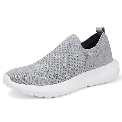 TIOSEBON Women's Casual Walking Shoes Slip On Travel Sneakers 13 US Gray