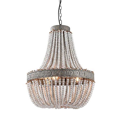 LED-lamp American Retro kralen houten kroonluchter persoonlijkheid decoratieve lampen antiek woonkamer slaapkamer eetkamer verlichting D35 * H42 cm D47 * H54 cm Woonkamer