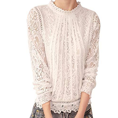 MEIbax Damen Casual Hemd Spitze Polka Dot O Hals T-Shirt Elegant Langarm Tops Bluse Oberteile (2XL, Weiß-1)