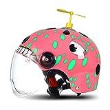 HNLong Caschi per Bambini Caschi da Moto per Uomo e Donna, Protezione Solare Estiva - Rosa Dragonfly_52-57cm
