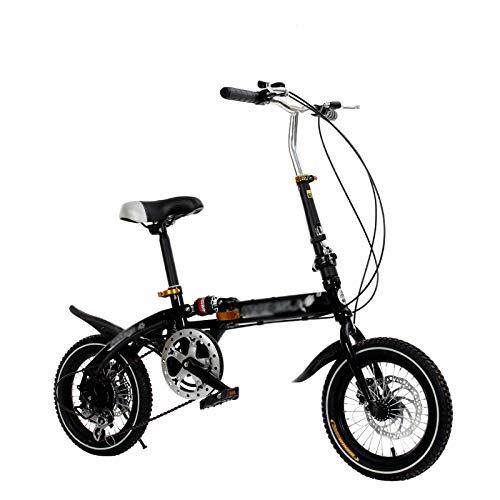 Bicicletas Plegables Adulto 6 Velocidades Doble Freno De Disco Ligero Planchar Cuadro Moma Bikes, Compacto Bicicleta con Antideslizante Y Resistente Al Desgaste Neumático,Negro,14inch