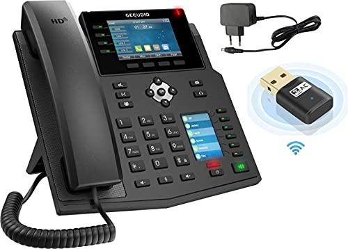 GEQUDIO IP Telefon GX5+ Set mit Netzteil Adapter & WLAN Stick- SIP VoIP - Fritzbox, Speedport kompatibel - Premium Freisprechen & 2X Farbdisplays - Anleitung (PDF) für Fritz Box, Telekom Speedport