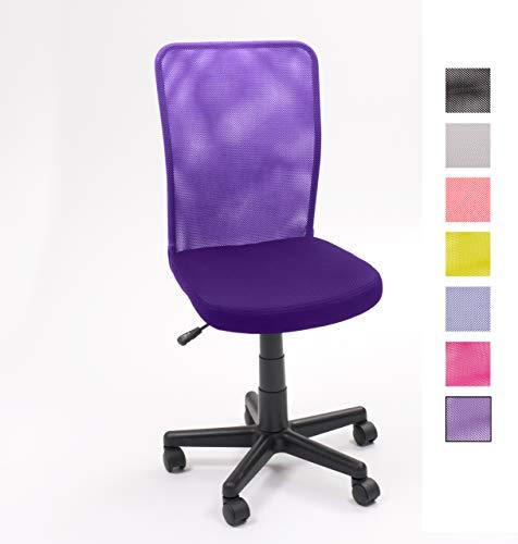 Homely - Silla de escritorio y estudio juvenil, giratoria con elevación y ruedas - PURPURA MF-10