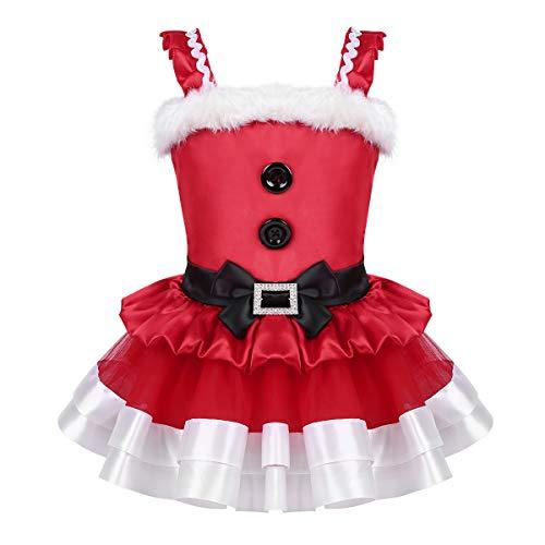 iiniim Bébé Enfant Fille Robe de Noël Carnaval Rouge Pompom Robe de Cérémonie Princesse Mariage Soirée Robe sans Manche 6 Mois-5 Ans Rouge 6-12 Mois