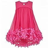 Vestido para niña Rosa Rojo Encaje Sin Mangas 2 Paquetes Bandolera Bolso 5 años