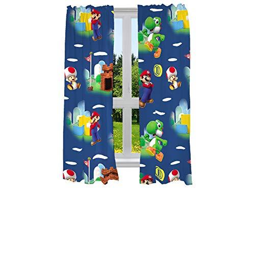 "Franco Kids Room Window Curtains Drapes Set, 82"" x 63"", Super Mario"